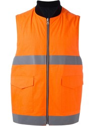 Facetasm Reflective Bomber Vest Yellow And Orange