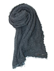 Replay Viscose And Alpaca Blend Scarf Blue