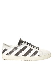 Off White Striped Leather Low Top Trainers White Multi