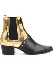 Balmain Studded Ankle Boots Calf Leather Metal 36.5