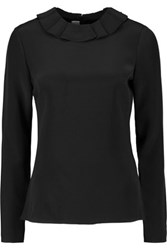 Goat Cameo Ruffle Trimmed Silk Blouse Black