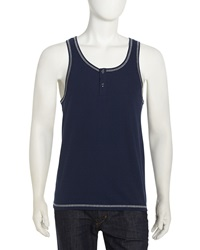 Penguin Two Button Jersey Tank Navy