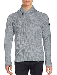 Ben Sherman Knit Shawl Collar Sweater Silver Champagne