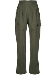 Bassike High Waisted Cargo Trousers Green