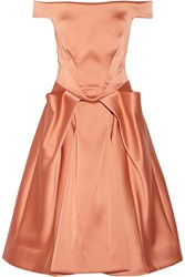 Zac Posen Off The Shoulder Satin Dress Pink