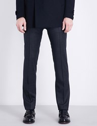 Corneliani Micro Check Academy Fit Stretch Wool Trousers Blue