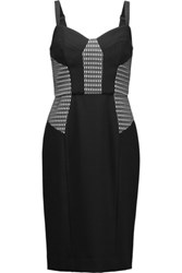 Milly Honeycomb Paneled Cady Dress Black