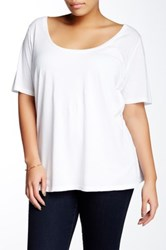 Susina Elbow Length Sleeve Scoop Neck Tee Plus Size White