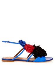 Malone Souliers Sherry Fringed Pompom Suede Flat Sandals Blue Multi