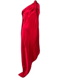 Maison Martin Margiela Mm6 One Shoulder Asymmetric Dress Red