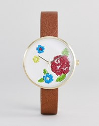 Asos Design Embroidered Face Watch Tan