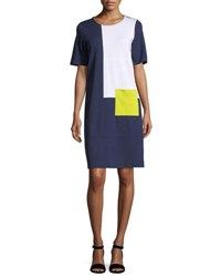 Joan Vass Colorblock Short Sleeve Pocket Dress Plus Size Navy Combo