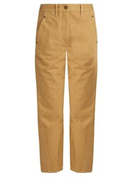 Christophe Lemaire High Rise Straight Leg Jeans Beige