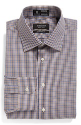Nordstrom Men's Big And Tall Men's Shop Smartcare Tm Traditional Fit Check Dress Shirt Brown Bear
