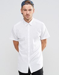 Selected Homme Short Sleeve Linen Mix Shirt White