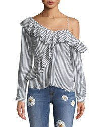 Cupcakes And Cashmere Jessilyn Striped Ruffle One Shoulder Top Navy