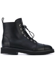 Giuseppe Zanotti Design Lace Up Boots Women Leather Rubber 40 Black