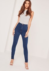 Missguided High Waisted Skinny Jeans Blue Blue