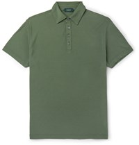 Incotex Slim Fit Cotton Pique Polo Shirt Green