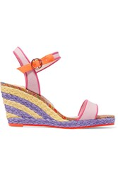 Sophia Webster Lucita Leather Trimmed Canvas Espadrille Wedge Sandals Pink