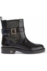 Charlotte Olympia Buckled Leather And Mesh Ankle Boots Black