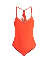 Mikoh Copacabana V Neck Swimsuit Red