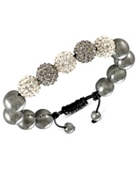 Macy's Men's Stainless Steel Bracelet Black And Clear Crystal Beaded Bracelet