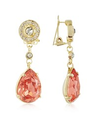 A Z Collection Az Orange Clip On Drop Earrings Gold