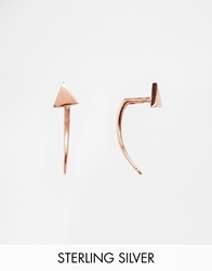 Asos Rose Gold Plated Sterling Silver Triangle Spike Through Earrings Rosegold