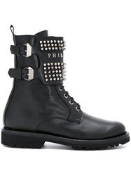 Philipp Plein Studded Buckle Boots Leather Metal Rubber Black
