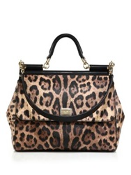 Dolce And Gabbana Sicily Large Leopard Print Textured Leather Top Handle Satchel