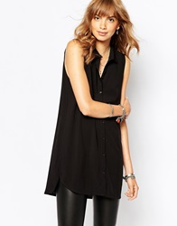 Vila Sleeveless Longline Shirt Black