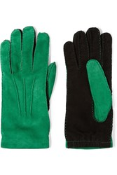 Marni Two Tone Suede Gloves Green