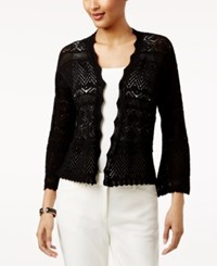 Style And Co Petite Cotton Pointelle Open Front Cardigan Only At Macy's Deep Black
