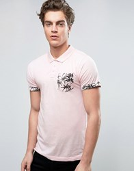 D Struct Palm Print Polo Pink
