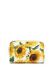 Dolce And Gabbana Sunflower Print Cosmetic Case White Multi