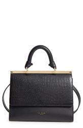 Ted Baker London Croc Embossed Leather Satchel Black