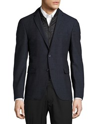 Strellson Quilted Zip Out Accented Checked Jacket Navy