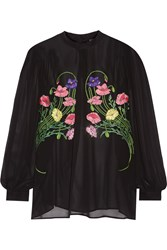 Christopher Kane Floral Appliqued Silk Chiffon Blouse Black