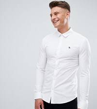 Jack Wills Skinny Fit Poplin Stretch Shirt In White Exclusive At Asos