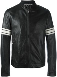 Dolce And Gabbana Striped Sleeve Bomber Jacket Black