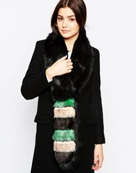 Urbancode Color Block Faux Fur Skinny Scarf Blacktealstripe