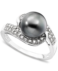 Macy's 14K White Gold Cultured Tahitian Pearl And Diamond 1 8 Ct. T.W. Swirl Ring