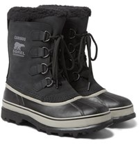 Sorel Caribou Faux Shearling Trimmed Waterproof Nubuck And Rubber Snow Boots Black