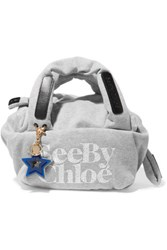 See By Chloe Joy Rider Small Printed Jersey Tote Gray