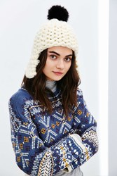 Urban Outfitters Faux Fur Pompom Ear Flap Beanie Ivory