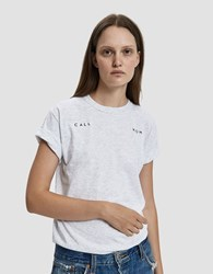 Collina Strada Embroidered Call Mom Tee In Heather Grey