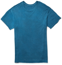 The Elder Statesman Cashmere And Silk Blend T Shirt Blue