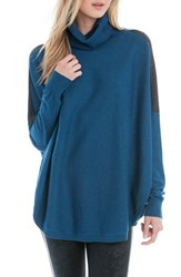 Lole Women's 'Miki' Turtleneck Poncho Sweater Dark Marine Heather