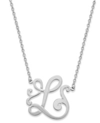 Giani Bernini Sterling Silver Necklace 'L' Initial Pendant Necklace